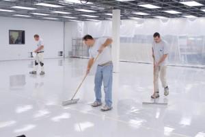 TMI Coatings Job Team Applying CHEM-RESIST Flooring Solution