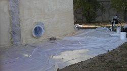 Foam Insulation Sprayed on Ground Storage Fire Water Tank