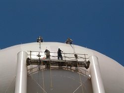 Painting Tank Bowl on Elevated Water Storage Tanks DeSoto TX