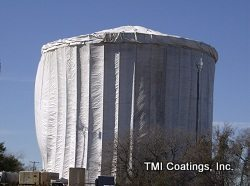 Protective covering during water tower restoration